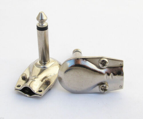 "2 Pack Right Angle 1//4/"" TS 6.35mm Mono Flat Guitar Phono Connector Plug 2pcs"