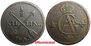 SWEDEN-COPPER-1803-1-2-SKILLING-OVERSTRUCK-ON-1-ORE-1769-S-M-EARLY-SCARCE-DATE