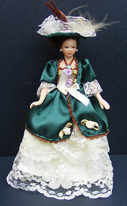 1-12-Scale-Victorian-Lady-In-A-Green-amp-Yellow-Dress-Dolls-House-Accessory-H