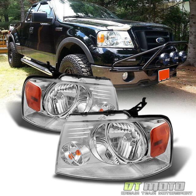 2004-2008 Ford F150 Twin Halo LED Projector Chrome Headlights Slim 6000k  HID Kit