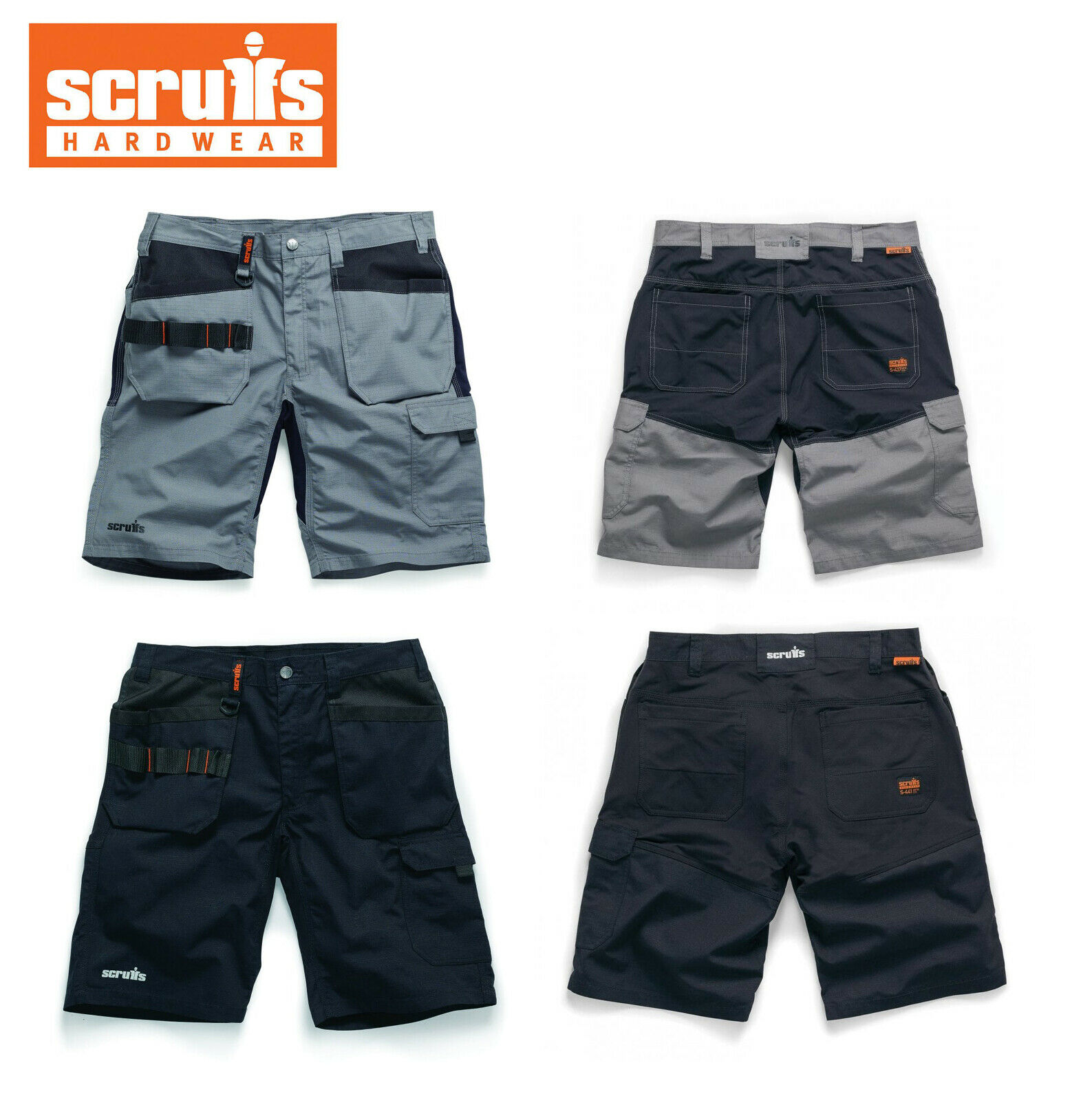 Scruffs TRADE FLEX HOLSTER SHORTS Lightweight Slim Fit Hard Wearing Work Shorts