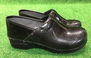 DANSKO-XP-Women-039-s-black-gray-Patent-Leather-Clogs-Shoes-Size-41-10-5-11