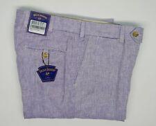 Bills Khakis 100% Linen Herringbone Pants Purple Unhemmed M3 Slim Men's 33 NWT