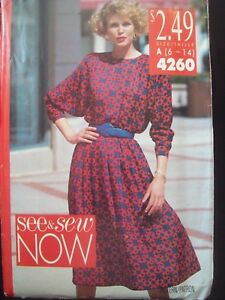 Vintage-Butterick-See-amp-Sew-Dress-Pattern-4260-Sizes-6-14-Uncut-Factory-Fold