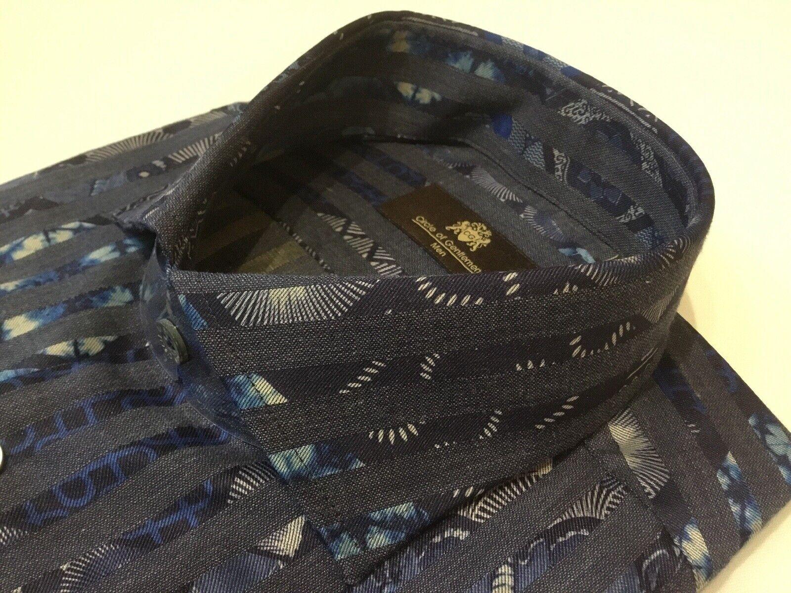 "Circle Of Gentlemen 15 3 4""Collar 4""Collar 4""Collar  44 3 4""Chest  Blau Printed Knight Shirt | Eleganter Stil  8c92fc"