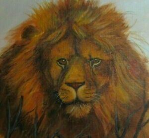 Original Vintage Oil Painting Lion Portrait Fine Art Country Folk Art Primitive