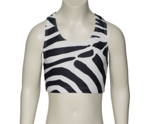 Girls Ladies Tiger Animal Print Racer Back Dance Crop Top KCTP5 Katz Dancewear