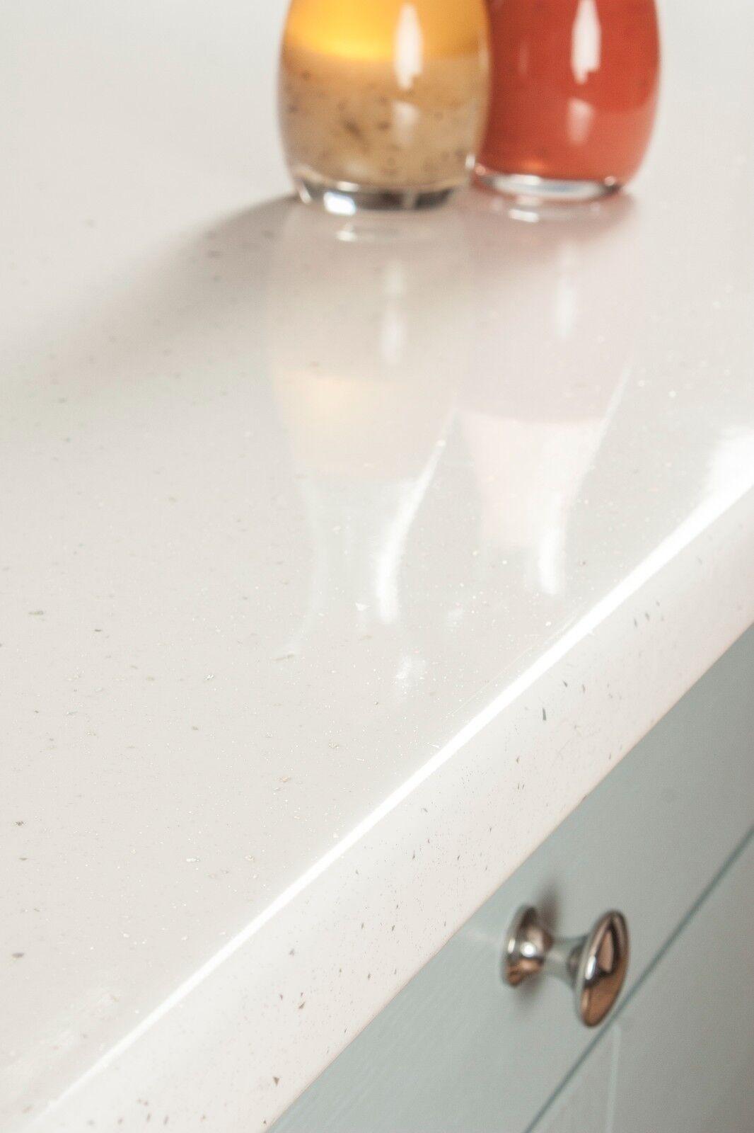 White Sparkle Andromeda Laminate Kitchen Worktop 4100 X 600 X 38mm ...