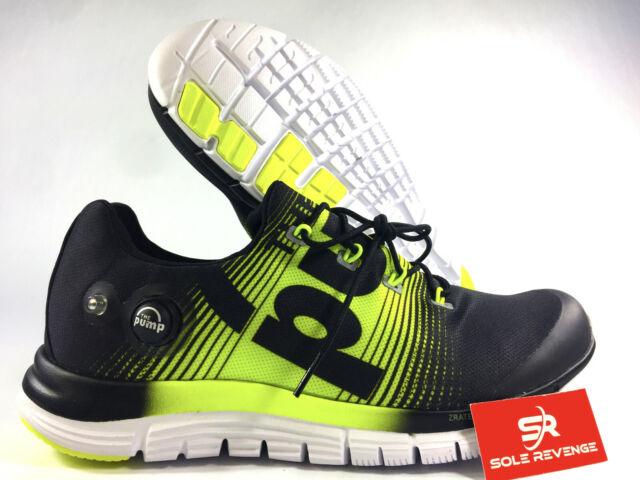 New 10.5 Mens Reebok ZPUMP Fusion Running Shoes Pump Black Solar Yellow M47888