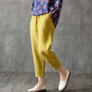 HOT Vintage Womens Summer Casual Loose Cotton Linen Elastic Waist Pants Trousers