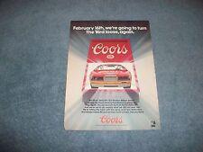 1986 Coors Beer Vintage Ad With Bill Elliott NASCAR Thunderbird