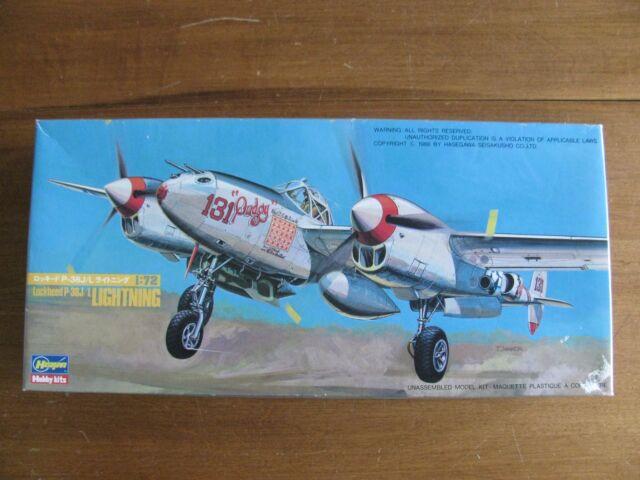 Vintage 1988 Hasegawa 1/72 Scale WW II Lockheed P-38J/L Lightning #816 NIB