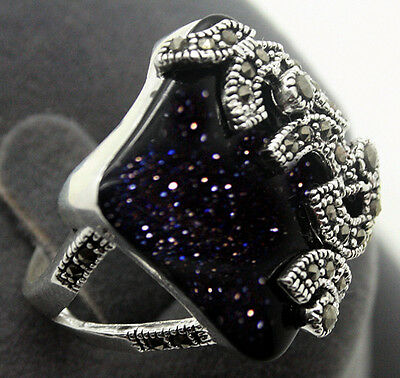 RARE BLUE SANDSTONE Sterling Silver 925 Bali Handcrafted Ring Size7/8/9/10