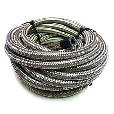 "AN -4 AN4 3/16"" 5MM Stainless Steel Braided RUBBER Fuel Oil Hose Pipe 1/2 Metre"