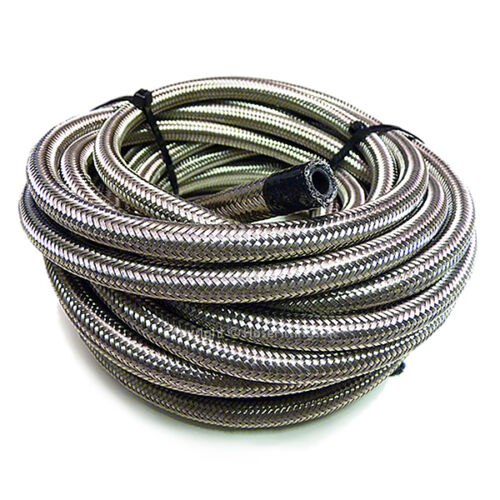 """4 AN4 3//16/"""" 5MM Stainless Steel Braided RUBBER Fuel Oil Hose Pipe 1//2 Metre AN"""