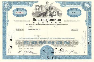 "Howard Johnson Company /> /""HoJo/"" hotels restaurant blue stock certificate"