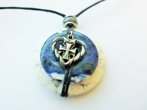 WHITE-HOWLITE-BLUE-DONUT-HOLE-PENDANT-STERLING-SILVER-HEART-NECKLACE-HAND-MADE
