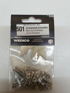 Wedico-501-20-Edelstahl-Schrauben-M-3x16-mit-Muttern-und-U-Scheiben
