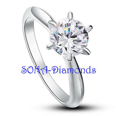 Dolores Solitare Wedding Man Made SONA NSCD Diamonds SILVER 925 Engagement Ring