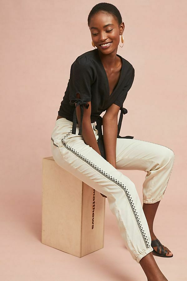 Anthropologie Cedar Embroidered Joggers XL new nwt