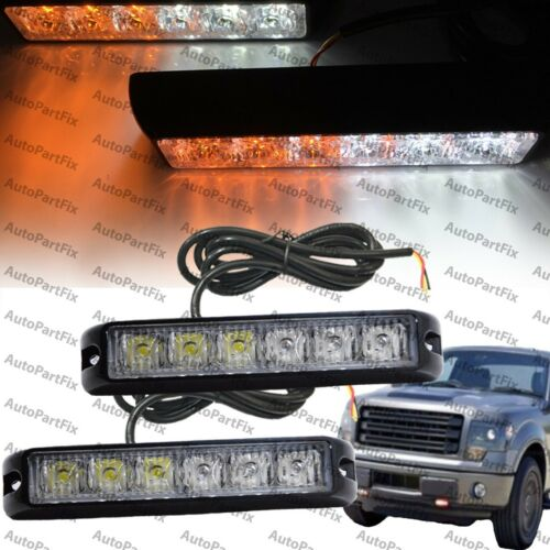 2x 6 LED 6W Emergency Security Grill Marker Flash Strobe Light White Amber