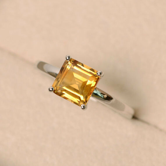 14K White gold 1.50 Ct Princess Cut Real Citrine Engagement Ring Size 6 7 8 7