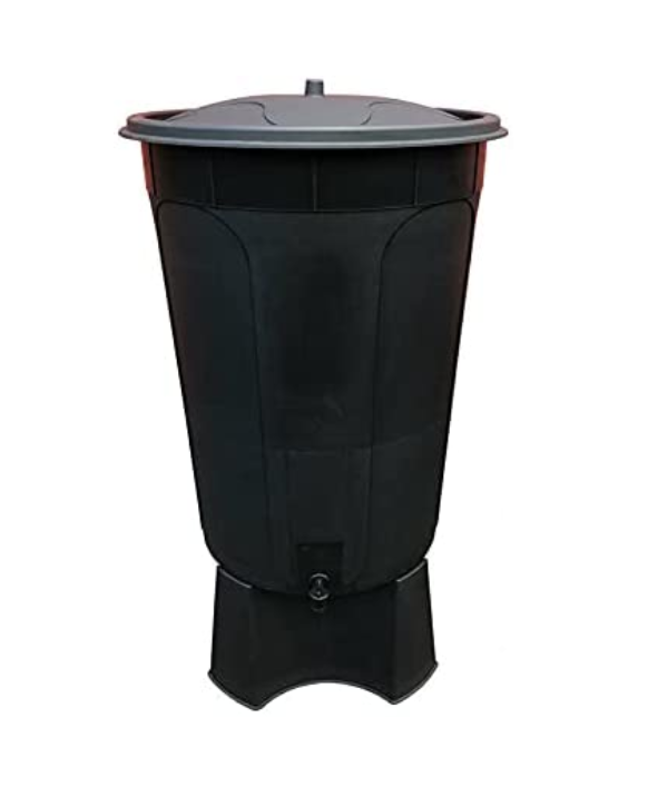200 LITRE BLACK WATER BUTT WITH TAP & LID & STAND MADE IN UK
