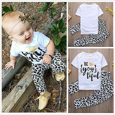 Toddler Kids Baby Girls Sommer Outfits Clothes T-shirt Tops Dress+Pants 2PCS Set