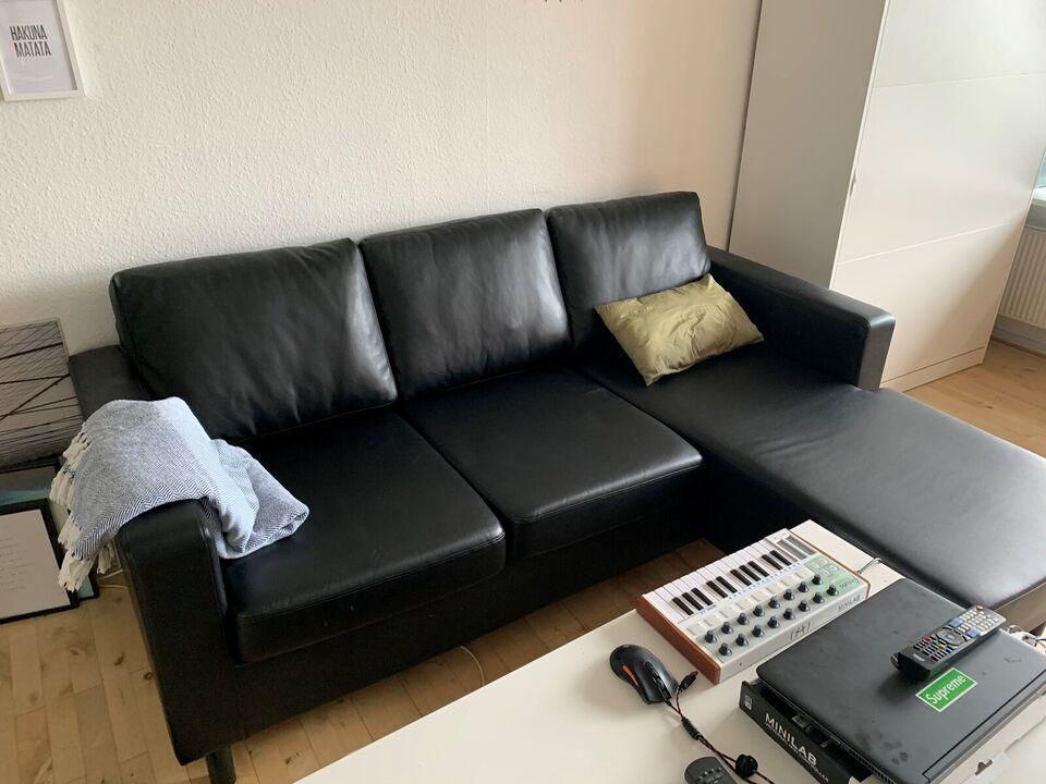 Sofa, læderlook, 3 pers.