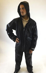 New-Jacket-amp-Trousers-Black-Mens-Waterproof-Hooded-Outdoor-Clothing-M-L-XL
