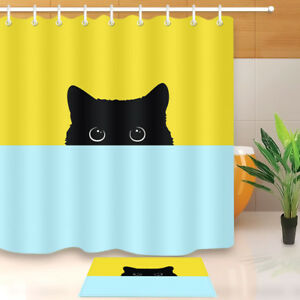 Image Is Loading Black Cat Fabric Bathroom Curtains Cool Shower Curtain