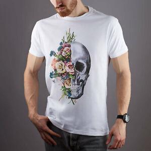Floral-Skull-Graphic-T-Shirt-Short-Sleeve-Shirt-Skeleton-Print-Unisex-T-Shirt