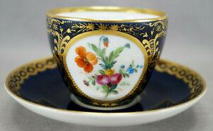 KPM Berlin Hand Painted Dresden Style Floral Cobalt & Gold Tea Cup & Saucer C