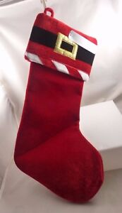 Elegant-Santa-boot-theme-Christmas-stocking-red-with-black-amp-gold-buckle