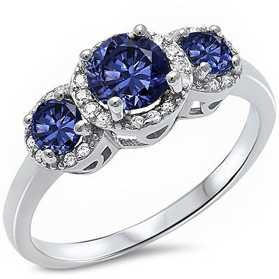 3 Stones Tanzanite & Cz .925 Sterling Silver Ring Sizes 3-13