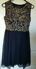 En Focus Studio Size 6 Womens Sexy Dress Navy/animal print