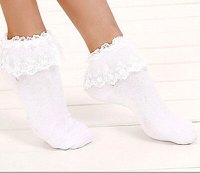 Sweet Cute Women Ladies Princess Girl Vintage Lace Ruffle Frilly Ankle Socks