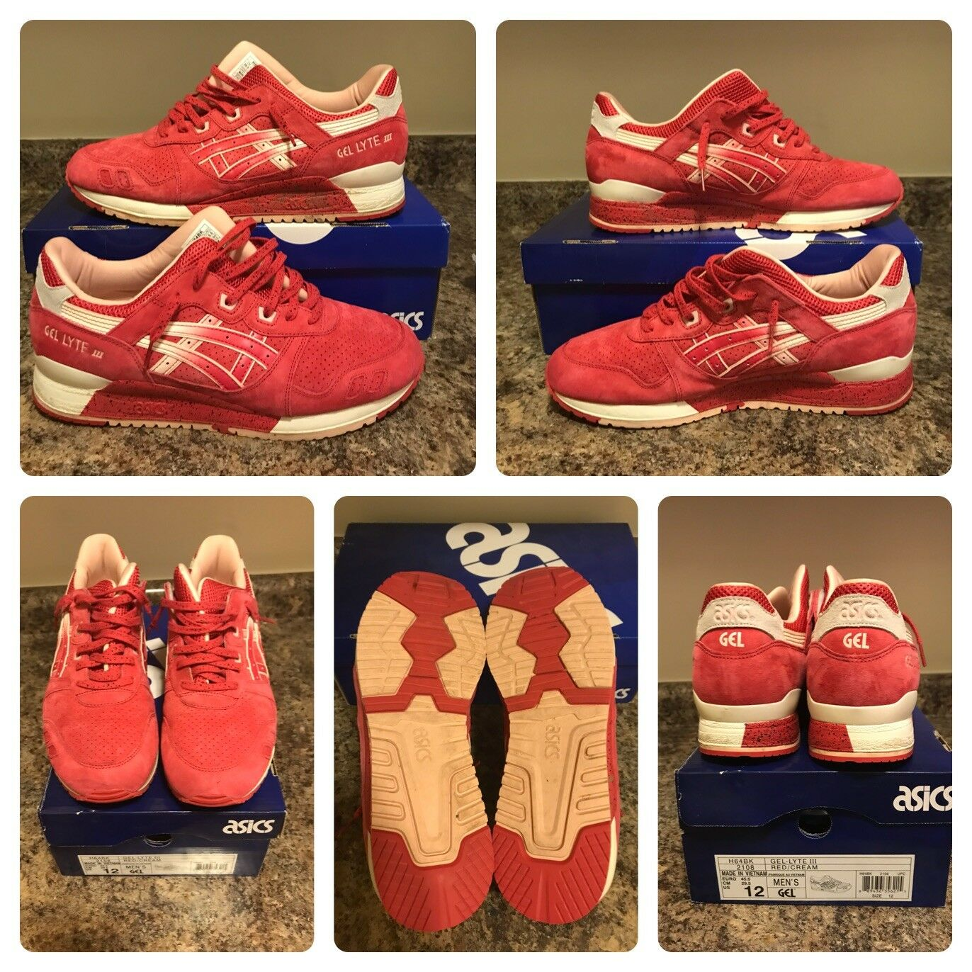 Gel Lyte 3 Red Cream Size 12