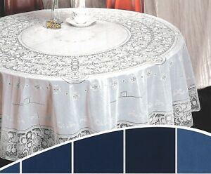 54in-135cm-Rond-Blanc-Vinyle-Dentelle-Nappe-Facile-Propre-Indoor-Exterieur-Use