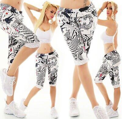 ITALY Damen Shorts Bermuda Capri kurze Hose Capri Stretch Dschungel Print 36-40
