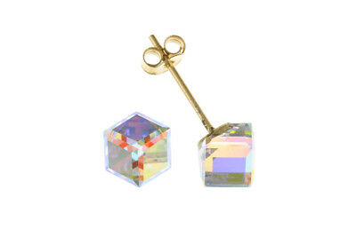 Clever Crystal Cube Stud Earrings Solid 9 Carat Yellow Gold Studs Grade Produkte Nach QualitäT