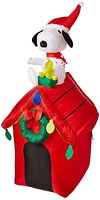 4 Gemmy Peanuts Snoopy Airblown Inflatable Doghouse Christmas Outdoor Yard Decor