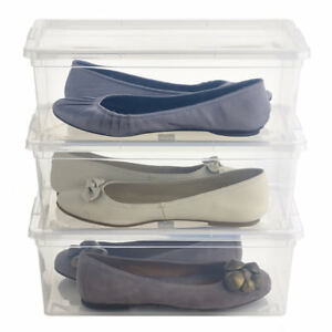 3-Lakeland-Large-Stackable-Clear-Ladies-Shoe-Boxes-with-Lids