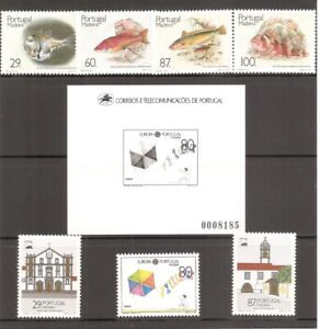 Portugal-Madeira-SC-129-136-130a-136a-Fish-Europa-Monuments-MNH