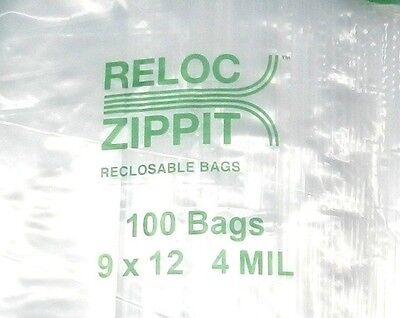"500 Ziplock 9"" X 12"" Heavy Duty 4mil 9 X 12 Bags Large Thick Clear Reloc Zippit"