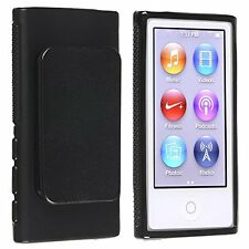Black TPU Rubber Case Cover with Belt Clip for Apple iPod Nano 7th Gen 7 7G NEW