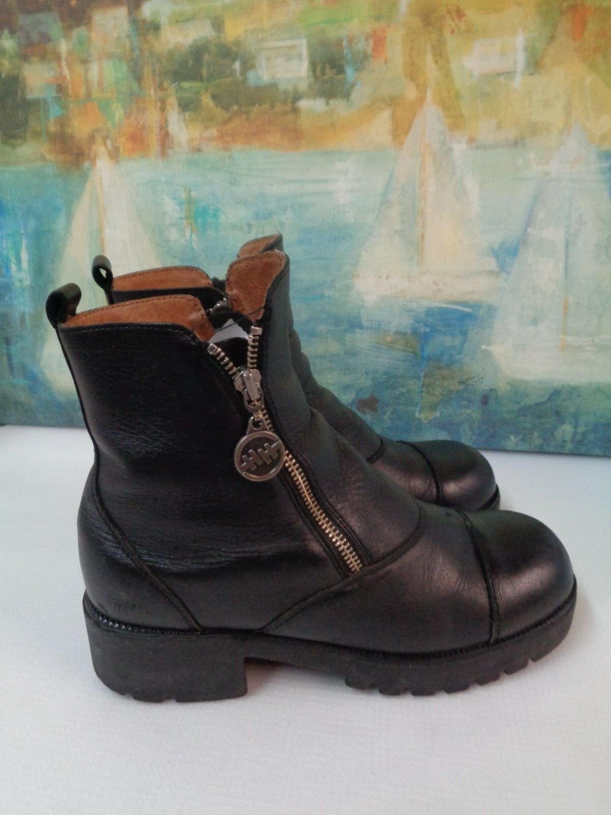 DOUBLE H or HH HH HH Beetle Ankle Hipster Double Zipper Boots 1 3 4  Women's Size 8.5 1a4034