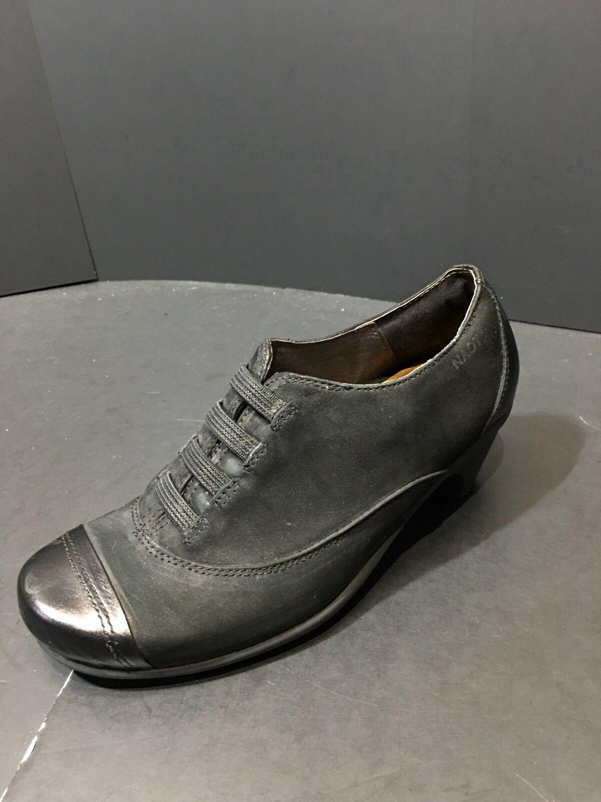 NAOT Royal Black Velvet Leather Capped Toe Oxford Heels Size EU 36