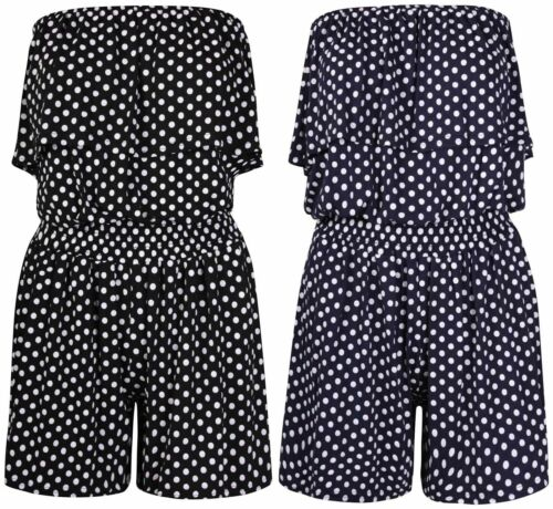 Nouveau Femmes Frill Bandeau Polka Dot Short Combi-short femme Play Costume Taille 8-24