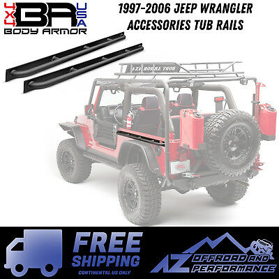 Black Body Tub Rail Armor Pair 1997-2006 TJ Jeep Wrangler